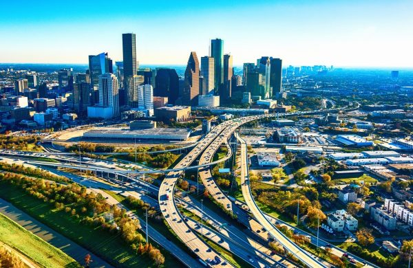 Downtown houston city highways